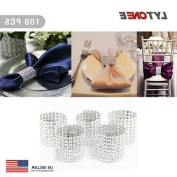 100 PCS Sliver Napkin Rings Buckles for Table Decorations We