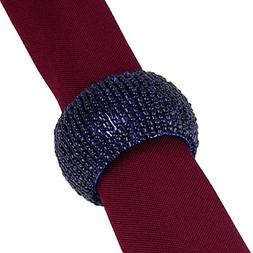 6 OPALESCENT NAVY BLUE BEADED NAPKIN RINGS, Have 100s Availa