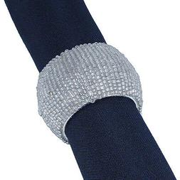 6 SILVER BEADED ROUND NAPKIN RINGS, Also available in other