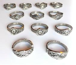 DII Assorted 12-Piece Silver Spoon Napkin Ring Set ~~FREE SH