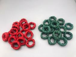 Fabric Wrapped Napkin Rings - Set of 16 - Choose Red or Gree