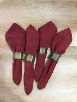Fall Napkins & Napkin Rings, Set of 4, Dark Red Suede Cloth
