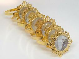 gold alloy metal napkin rings clear color