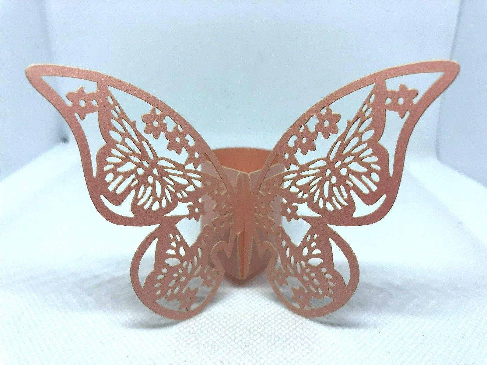 butterfly paper napkin rings 50 count wedding