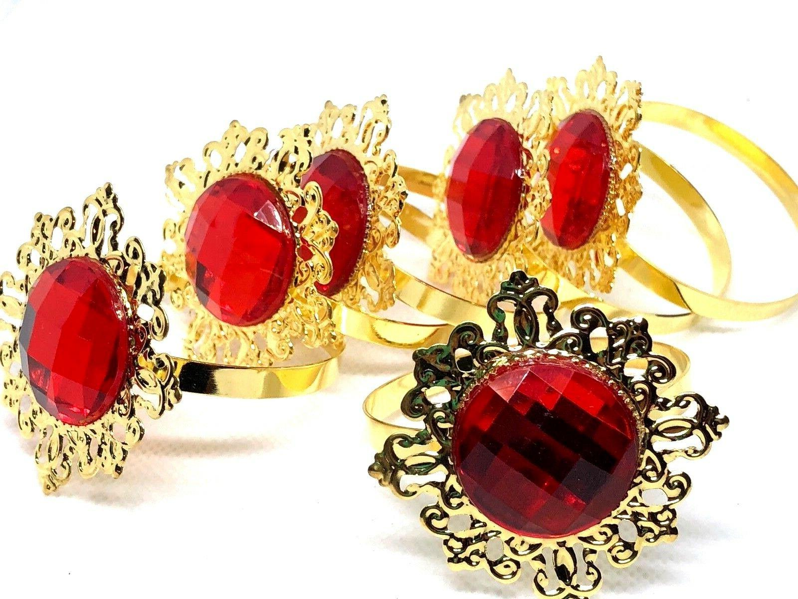 gold alloy metal napkin rings red color