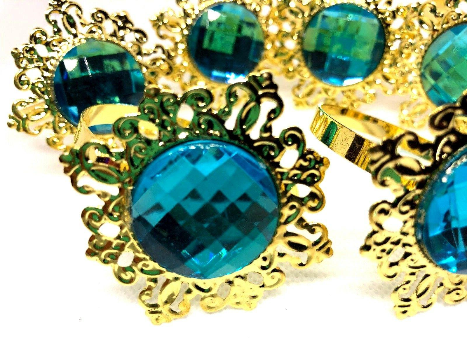 gold alloy metal napkin rings teal color