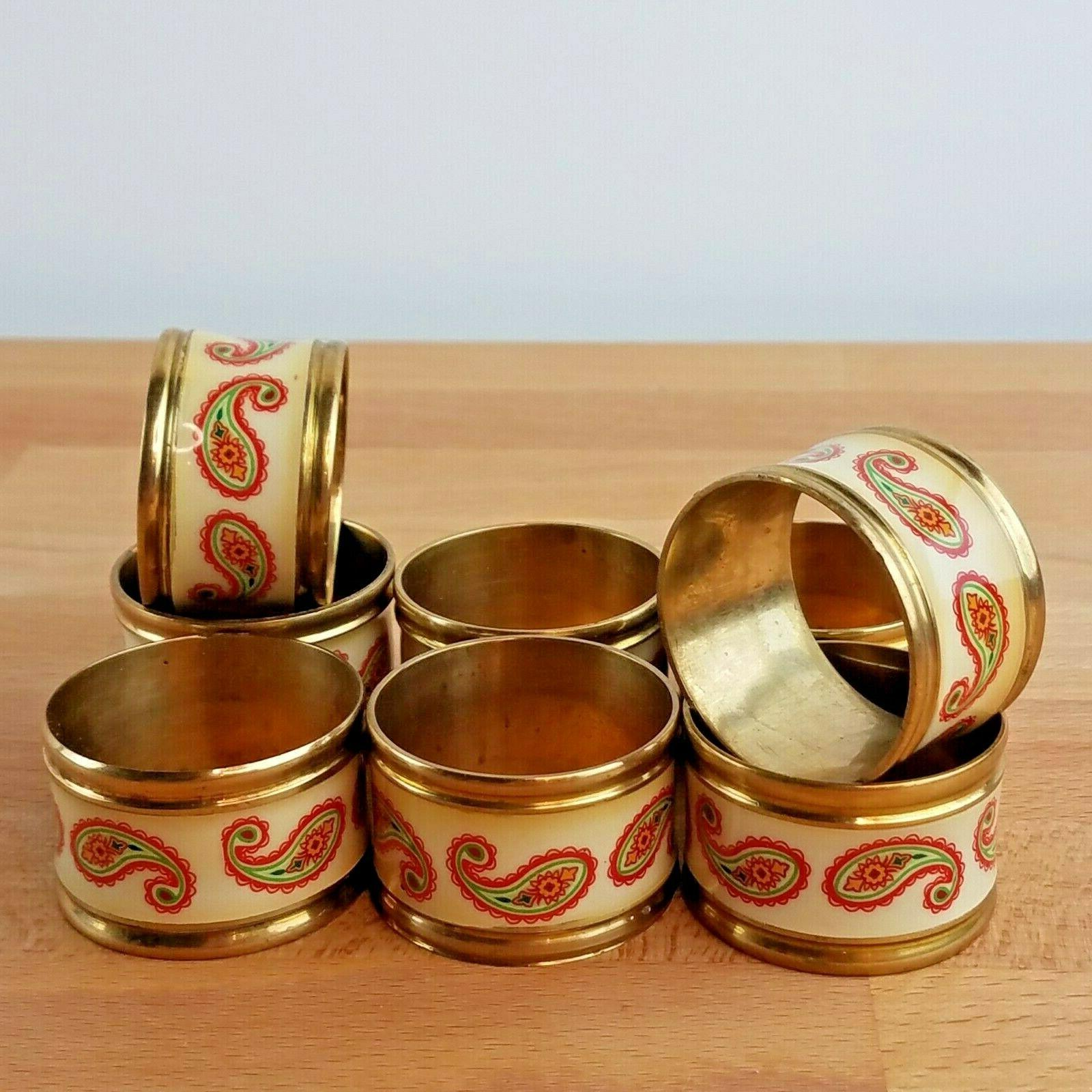 vintage brass and paisley napkin rings set