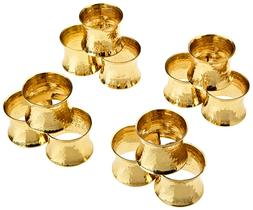 Metal Solid Hammered Napkin Rings Set for Dining Table Party