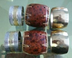 Napkin Rings 6 pk. 2x Gold/Silver, 2x Brass and 2x wood .