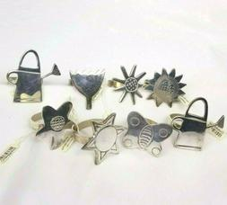 Napkin Rings Crate and Barrel Metal Flower Garden Butterfly