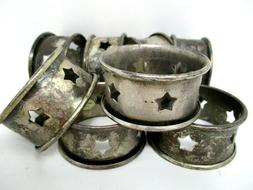 Napking Rings Set of 8 Silver Tone Metal Star Shape Cut Out