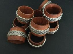 OOAK Vintage Set of 10 Wood Napkin Rings w/Pewter Accents