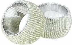 Pack Of 6 Handmade Silver Beaded 1.5 Inch Napkin Rings Table