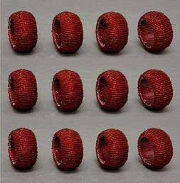 """Napkin Rings Woven Red Glass Beads Table Setting Decor 2""""Dia"""