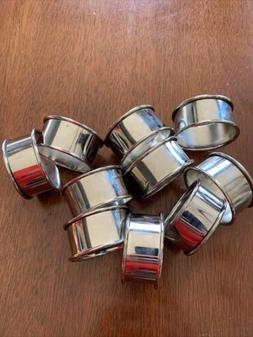 Set Of 12 Simple Silver Napkin Rings