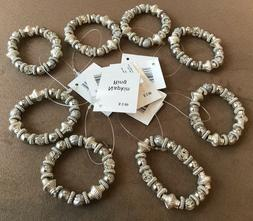 Set of 8 Napkin Rings Beads Silver Crystal Glitter NWT