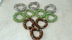 Silver Brown Green Beaded Napkin Rings Set Of 10 Seed Beads