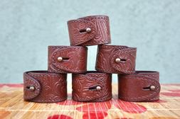 Vintage Faux Leather Napkin Rings / Set of 6