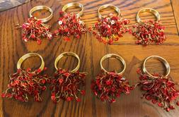 VTG Eight Unbranded Red  X-Mas Napkin Rings Acrylic/Metal, H